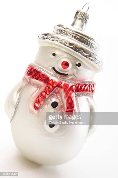 Snowman Christmas ornament, close-up
