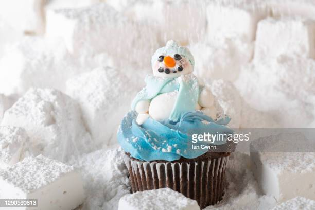 snowman cupcake - ian gwinn stock pictures, royalty-free photos & images
