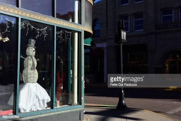 snowman decoration at trinidad, colorado, usa - window display stock photos and pictures