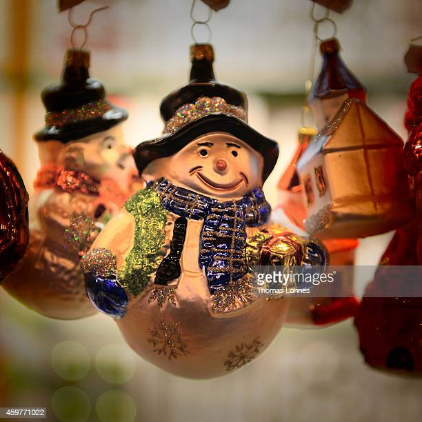 A snowman for the Christmas tree pictured at the pictured at the Christmas market at Roemerberg square on its opening day on November 26 2014 in...