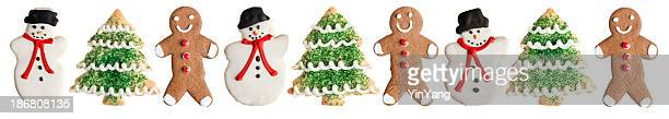 Snowman, Ginger Bread Man and Christmas Tree Cookies on White