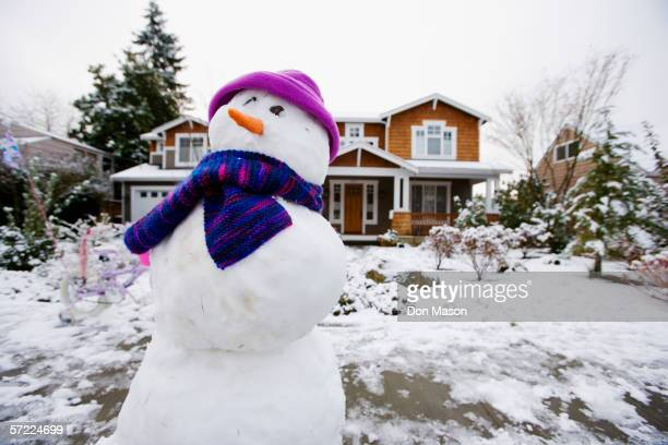 Snowman in front yard
