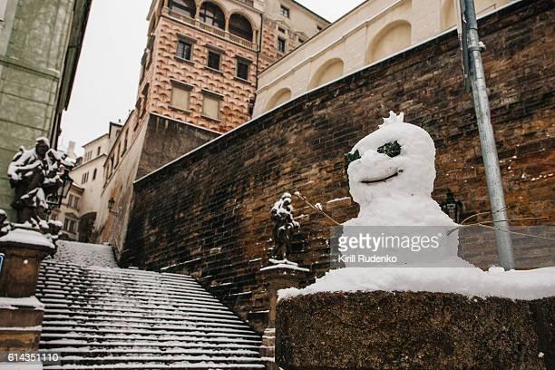 Snowman in Prague, Czech Republic
