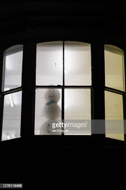 A snowman is displayed in the window of a property on Linthorpe Road on October 02 2020 in Middlesbrough England The mayor of Middlesbrough Andy...