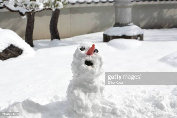 snowman made in snowy garden - first occurrence stock pictures, royalty-free photos & images