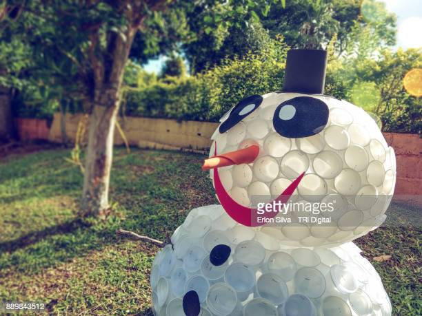 Snowman made of plastic cup