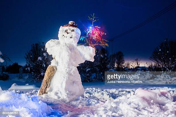 snowman on field against sky at night - heinovirta stock photos and pictures