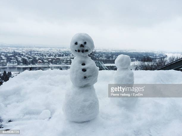 Snowman On Snow Covered Landscape