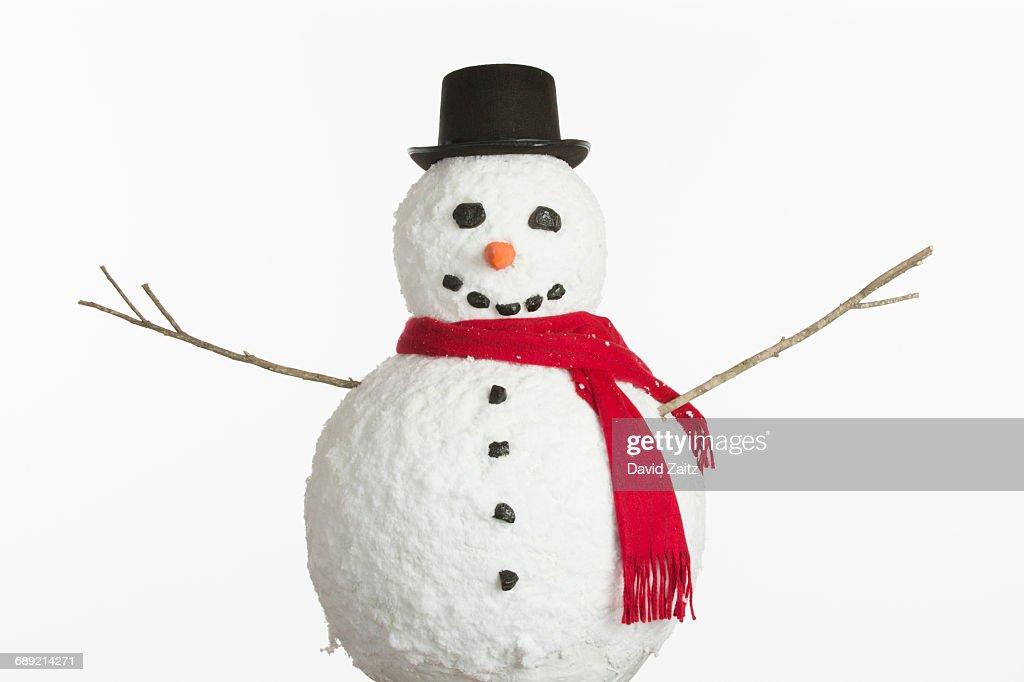 Snowman on white background : Stock Photo