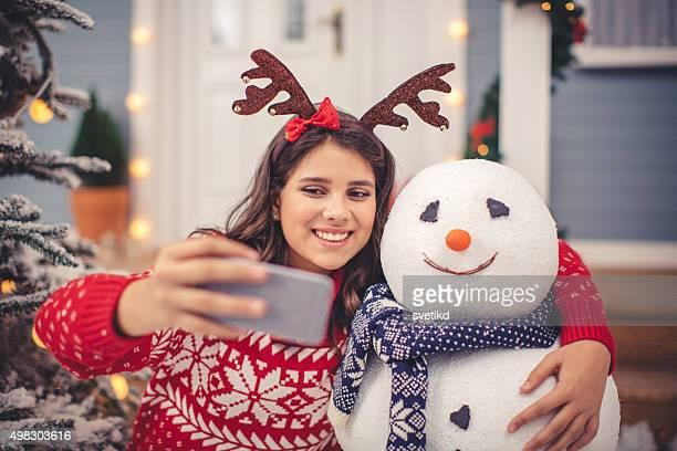 Pupazzo di neve selfie.