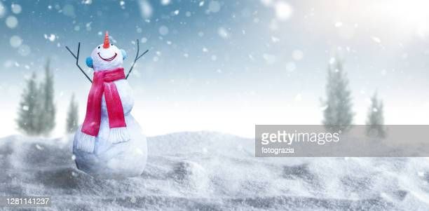 snowman smiling and looking at the sky - non urban scene stock pictures, royalty-free photos & images