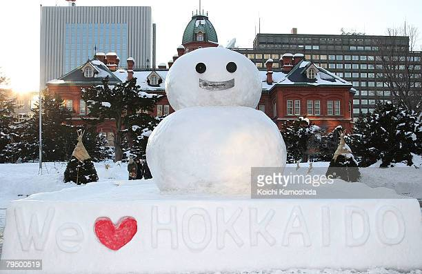 Snowman stands at the Hokkaido Government Office Building for Sapporo Snow Festival 2008 on February 4, 2008 in Sapporo, Japan. The 59th Sapporo Snow...