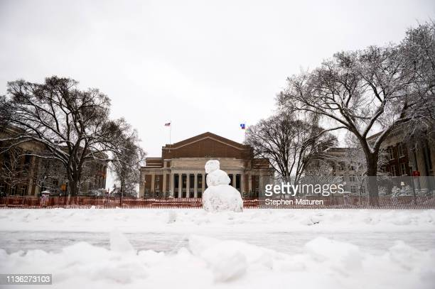 A snowman stands on the University of Minnesota campus on April 11 2019 in Minneapolis Minnesota The week in Minnesota started with two sunny Spring...