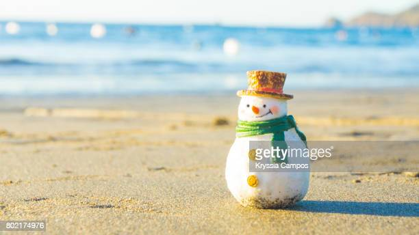 Snowman taking a sunbath on tropical beach