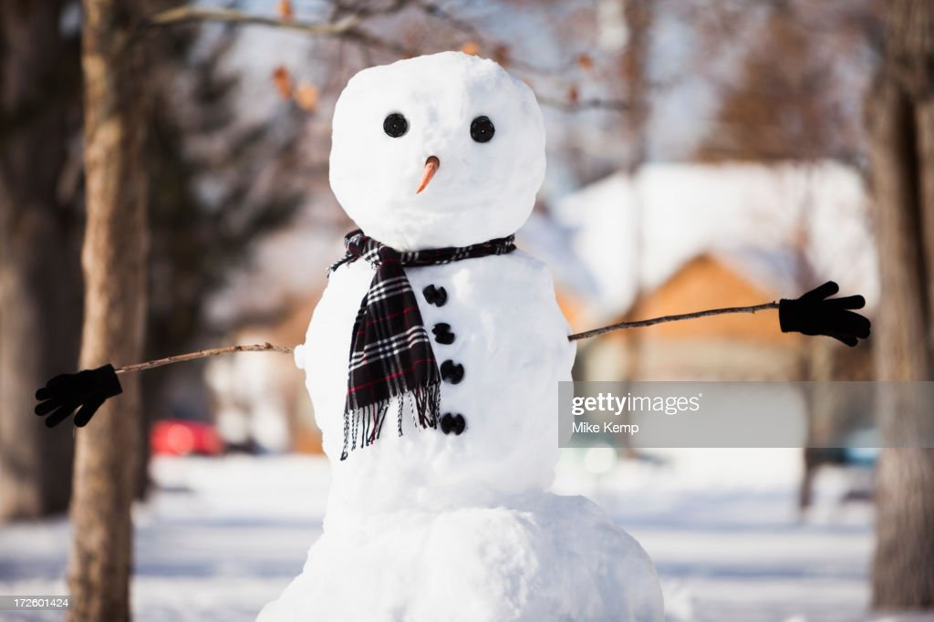 Snowman wearing scarf outdoors : ストックフォト