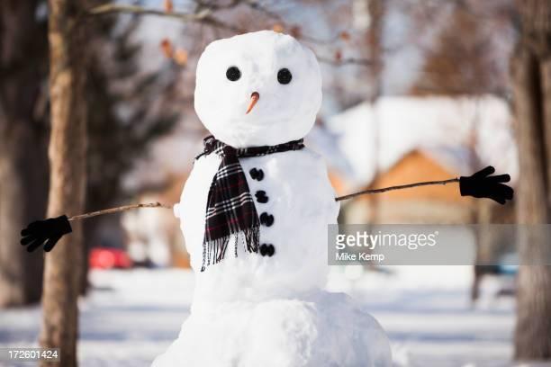 snowman wearing scarf outdoors - bonhomme de neige photos et images de collection