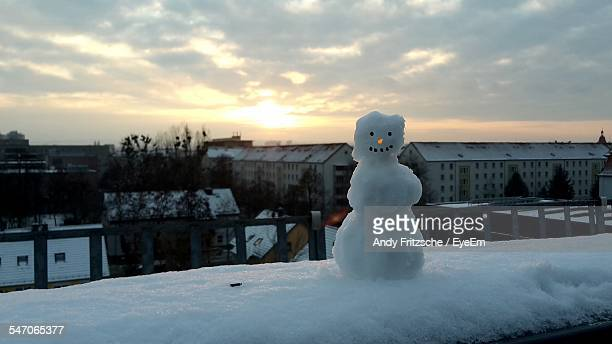 Snowman With Buildings On Background