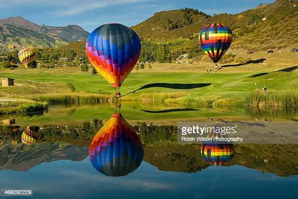 snowmass reflections - balloon fiesta stock pictures, royalty-free photos & images