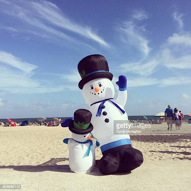 snowmen at the beach - florida christmas stock pictures, royalty-free photos & images