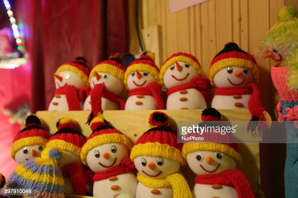 Snowmen in the german national colors Last Day of the Christmas Market at quotChinesischer Turmquot in Munich on December 23 2017
