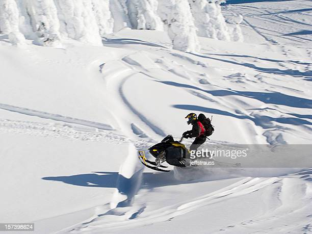 Snowmobile in powder