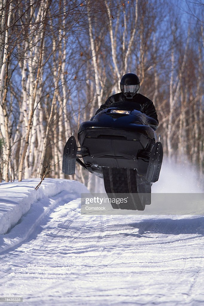 Snowmobile rider on groomed trails in Ontario , Canada : Stockfoto