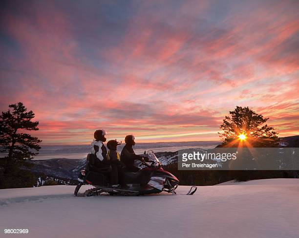 snowmobile sunrise - beaver creek colorado stock pictures, royalty-free photos & images