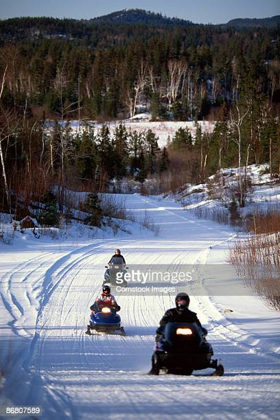 snowmobilers - sudbury canada stock photos and pictures