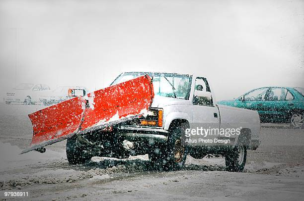 snow-plow and truck - snowplow stock pictures, royalty-free photos & images