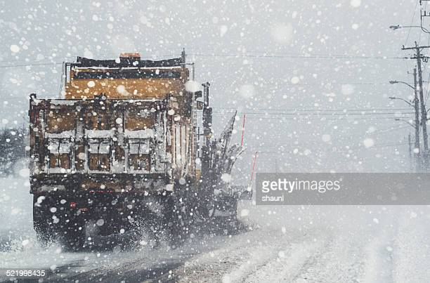 snowplow clearing street - snowplow stock pictures, royalty-free photos & images