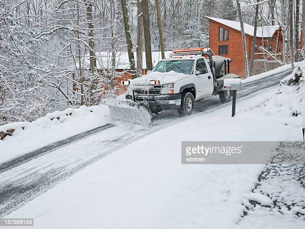 snowplow on an ice road with lights - snowplow stock pictures, royalty-free photos & images