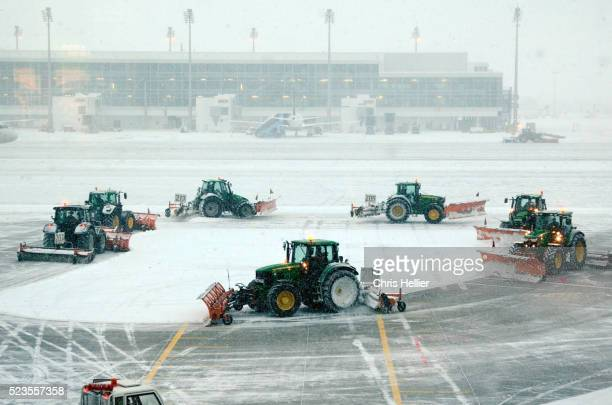 Snowplows at Munich Airport Germany