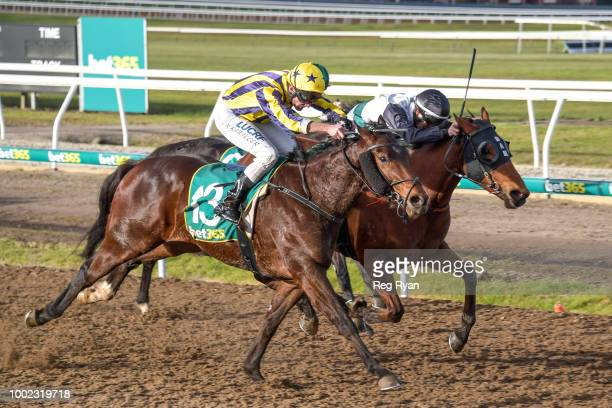 Snows Bro ridden by Brad Rawiller wins the Sargeants Conveyancing Geelong BM58 Handicap at Geelong Synthetic Racecourse on July 20 2018 in Geelong...