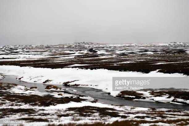 snowscape and landscape of jokuldalur valley, in the east of iceland - austurland stock-fotos und bilder