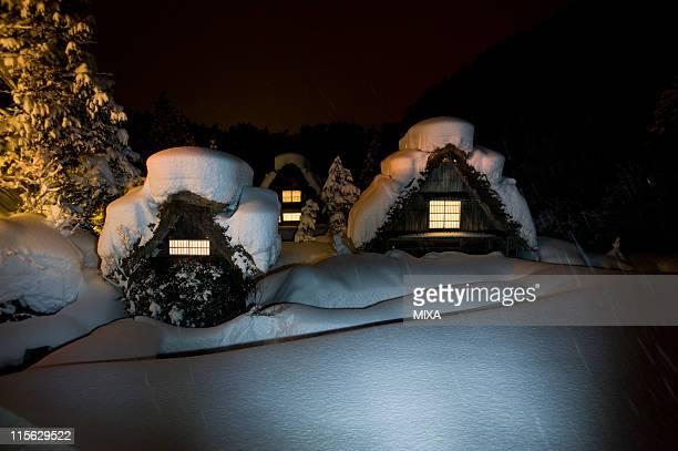 Snowscape of Shirakawa-go at Night, Shirakawa, Ono, Gifu, Japan