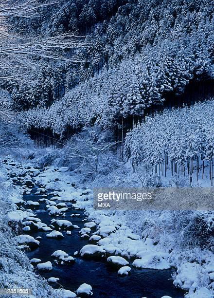 Snowscape of Togano-o Mountain and Kiyotaki River, Kyoto, Kyoto, Japan