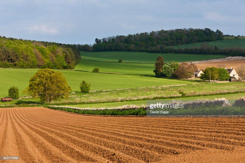 Snowshill farmland, Cotswolds, Gloucestershire : Stock Photo