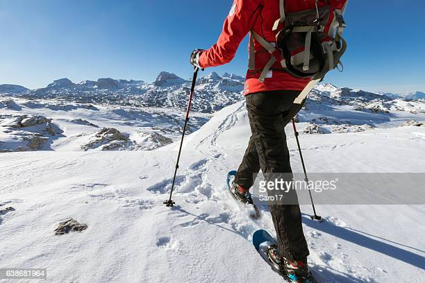 snowshoe step at dachstein mountains, austria - ski pants stock pictures, royalty-free photos & images