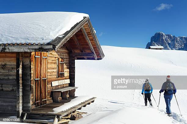 snowshoeing in the dolomite's - dolomites stock pictures, royalty-free photos & images