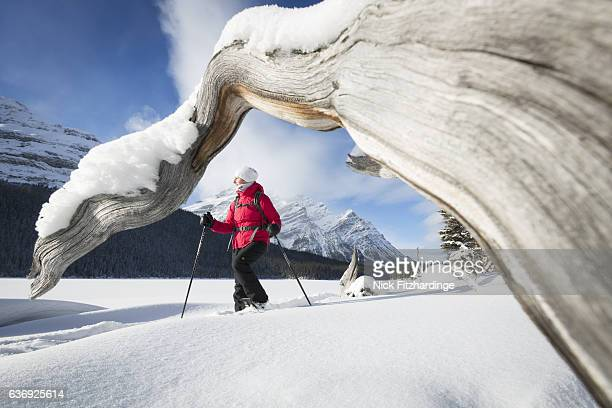 Snowshoeing on a frozen Peyto Lake in winter, Banff National Park, Alberta, Canada