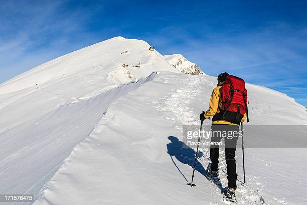 snowshoeing on monte baldo - february stock pictures, royalty-free photos & images