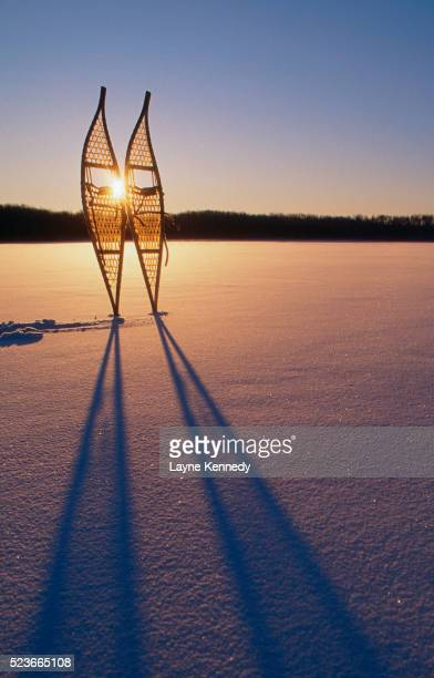 snowshoes on frozen greenstone lake - boundary waters canoe area stock pictures, royalty-free photos & images