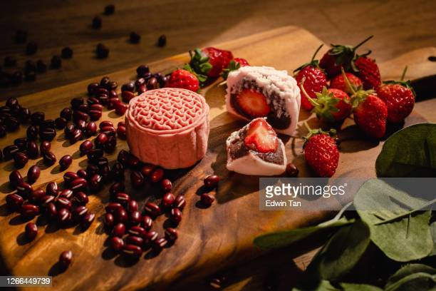snow-skin mooncake with local flavor still life chinese tradition festive season - moon cake stock pictures, royalty-free photos & images