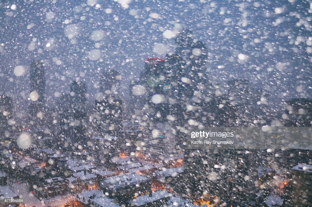 Snowstorm Drama in the City : Stock Photo