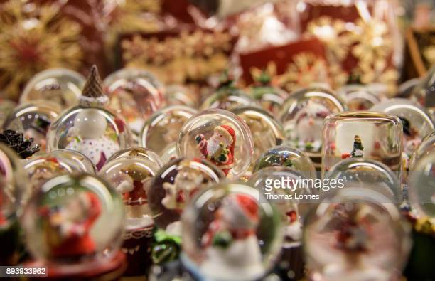 Snowstorm globes pictured at the annual Christmas market at Roemerberg on December 16 2017 in Frankfurt Germany Christmas markets are an essential...
