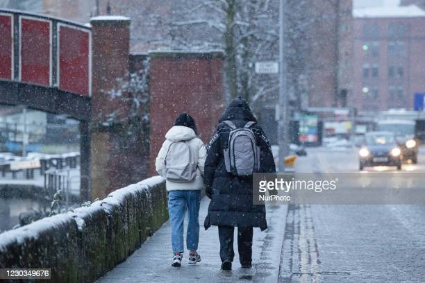 Snowstorm in Ancoats, Manchester city centre, as arctic conditions hit the UK on Tuesday 29th December 2020.