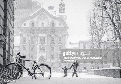 Snowstorm  in Ljubljana
