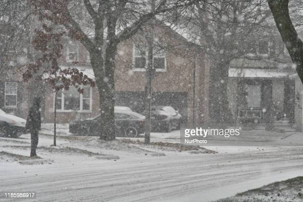 Snowstorm in Toronto Ontario Canada on December 01 2019 The winter storm brought freezing rain ice pellets and snow across Southern Ontario The storm...