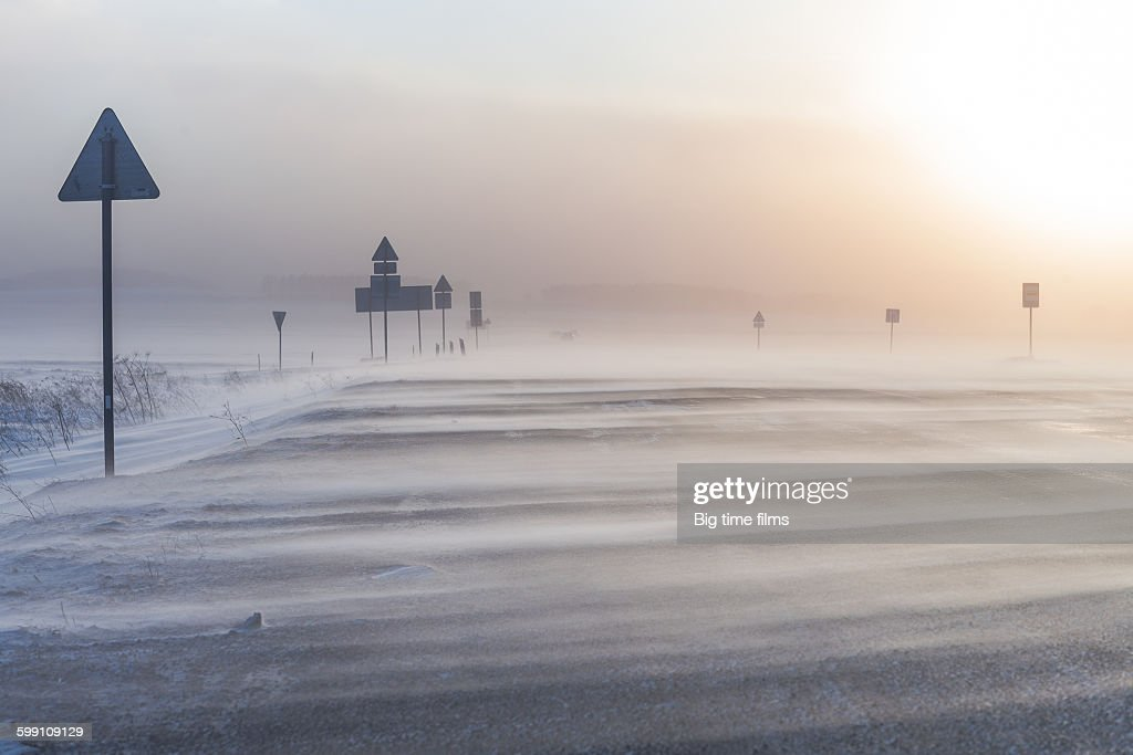 Snowstorm on the winter road : Stock Photo