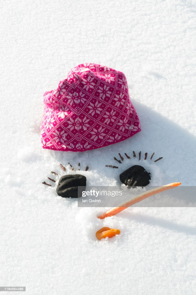 Snowwoman's Face in Snow : Stock Photo